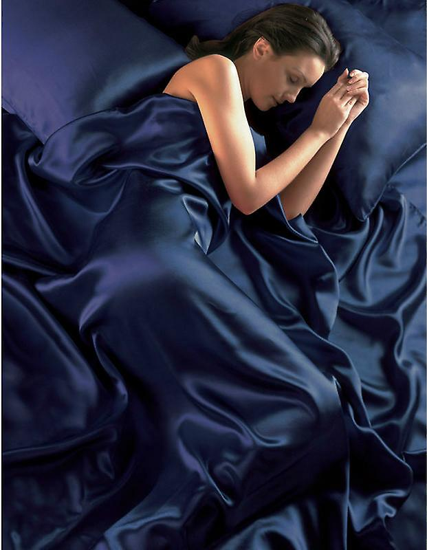 Navy Blue Satin Duvet Cover Fitted Sheet and Pillowcases
