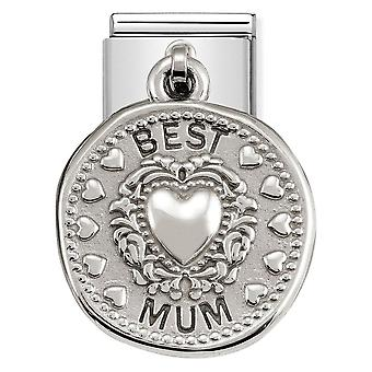 Nomination Classic Best Mum Steel and 925 Silver Pendant Link Charm 331804/12