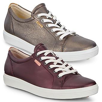 Ecco Donne Soft 7 W Soft Comfy Lace-Up Lightweight Leather Trainers