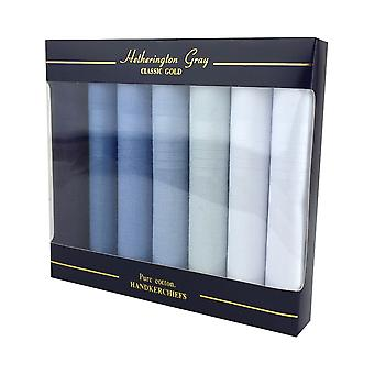 7 Pack Mens/Gentlemens Blue Dyed Handkerchiefs With Satin Stripe Borders, 100% Cotton In A Gift Box