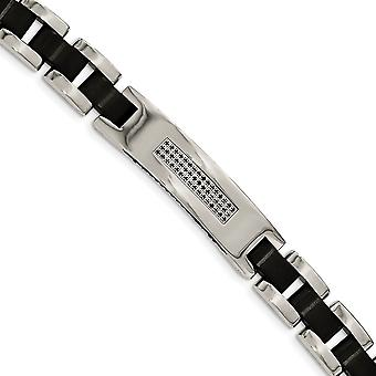 Stainless Steel Brushed and Polished Black Ip plated And CZ Cubic Zirconia Simulated Diamond Bracelet 8.5 Inch Jewelry G
