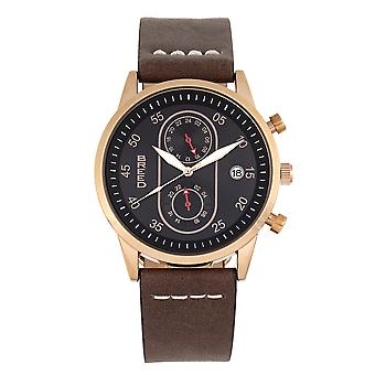 Race Andreas Leather-Band Watch w/ Date - Rose Gold/Dark Brown