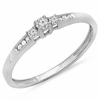 Dazzlingrock Collection 0.13 Carat (ctw) 10K Round Diamond Ladies Promise 3 Stone Engagement Ring, White Gold