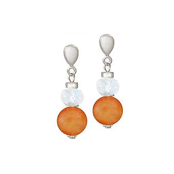 Eternal Collection Rhapsody Orange Agate And Crystal Silver Tone Drop Screw Back Clip On Earrings