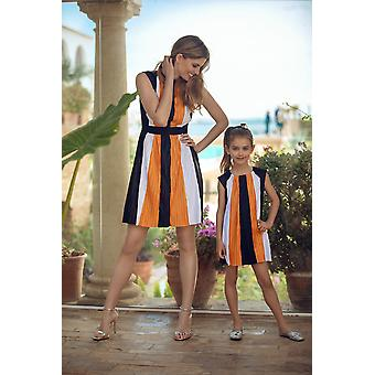 Pleated tricolor matching dress set