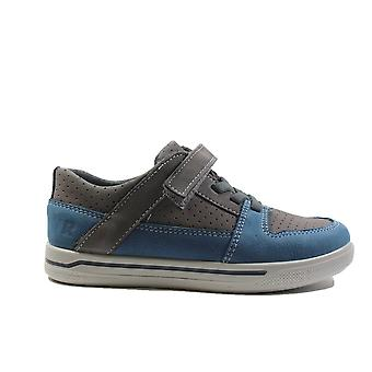 Ricosta Ted 4023100-451 Grey Nubuck Leather Boys Bungee Lace/Rip Tape Casual Trainer Shoes