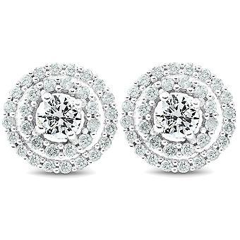1Ct الماس مزدوجة هالو ترصيع المسمار المرأة مرة أخرى الأقراط الذهب الأبيض 10.2MM