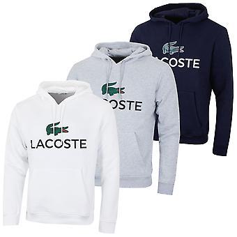 Lacoste heren SH0601 oversized print logo Classic geborsteld fleece hoodie