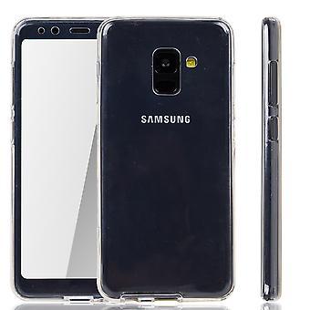 Samsung Galaxy A8 plus 2018 zaak Case 360 telefoon bescherming gevaldekking van de volledige TPU Case transparant