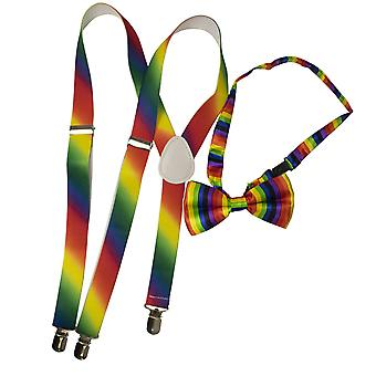 TRIXES 2PC Rainbow Bow Tie and Braces - Elasticated Y Shape Suspenders- Accessories for Pride Events