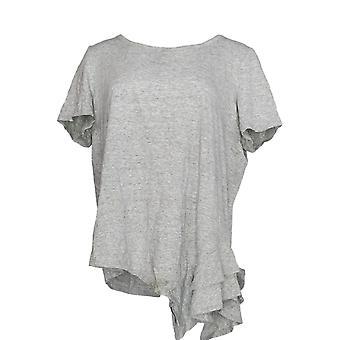 Anybody Women's Top Cozy Knit Side Ruffle Tee Gray A354722