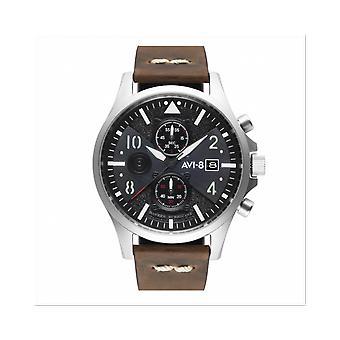 Watch Avi-8 AV-4068-01 - Hawker Hurricane chronograph with date round stainless steel black dial Brown leather bracelet men