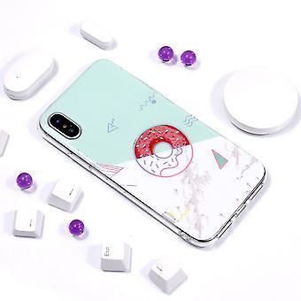 Voor iPhone XS Max Case Donut Shiny Laser Kleurrijke Marmeren TPU Cover