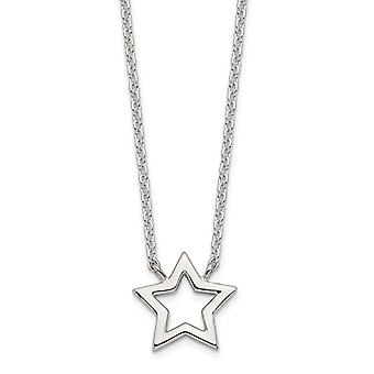 925 Sterling Silver Cut out Star Pendant Necklace 17.5 Inch Jewelry Gifts for Women - 2.0 Grams