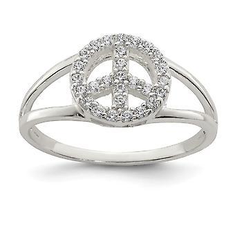 925 Sterling Silber poliert CZ Zirkonia simuliert Diamant Frieden Zeichen Ring Schmuck Geschenke für Frauen - Ring Größe: 6