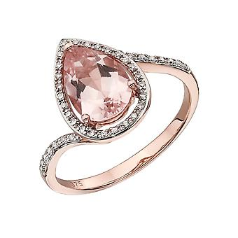 Joshua James Precious 9ct Rose Gold With Morganite & Diamond Pave Teardrop Ring