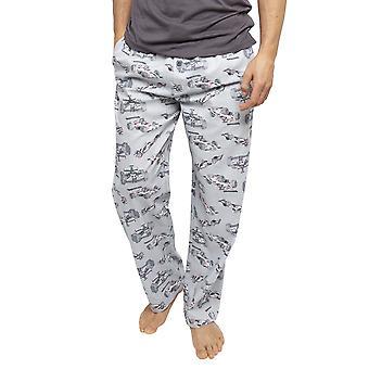 Cyberjammies 6444 Men's Jackson Grey Racing Auto Druck Baumwolle gewebt Pyjama Hose