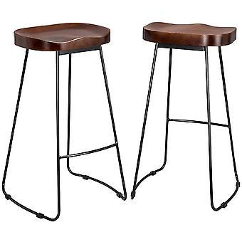 2pcs Vintage rustikale Designer Pub Bar Hocker mit schwarzen Rahmen und massive hart Holz Sitz Holz