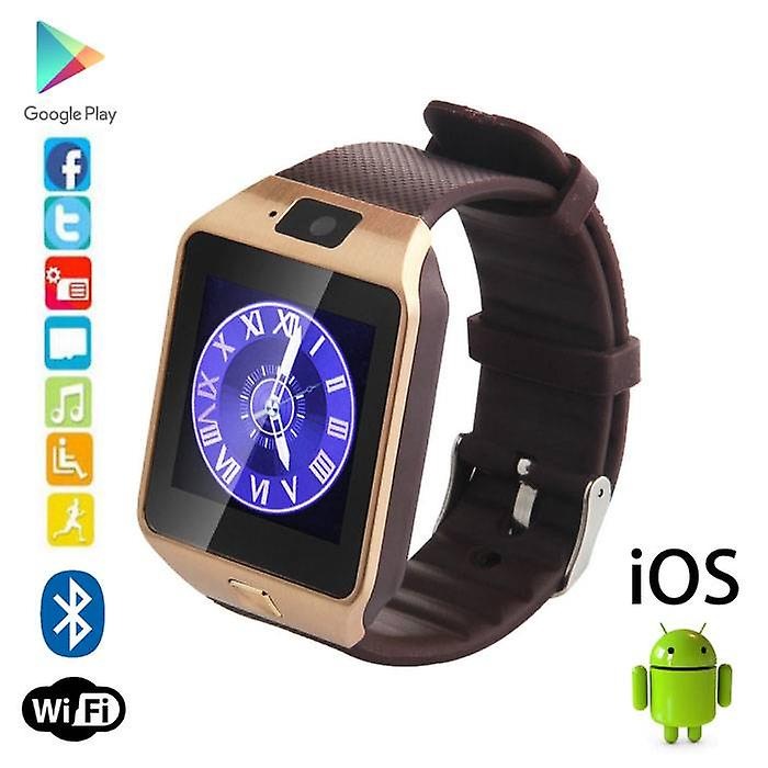 Stuff Certified® Original DZ09 Smartwatch Smartphone Fitness Sport Activity Tracker Watch OLED Android iOS iPhone Samsung Huawei Gold
