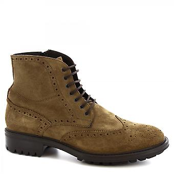 Leonardo Shoes Men-apos;s lace-ups faits à la main brogues bottines cuir de daim boue