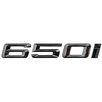 Silver Chrome BMW 650i Car Badge Emblem Model Numbers Letters For 6 Series E63. E64 F06 F12 F13 G32