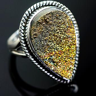 Large Spectro Pyrite Druzy Ring Size 7 (925 Sterling Silver)  - Handmade Boho Vintage Jewelry RING995432