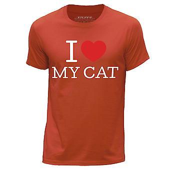 STUFF4 Men's Round Neck T-Shirt/I Heart My Cat / Kitten Love/Orange