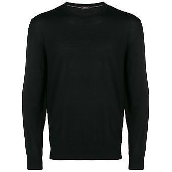 Z Zegna Vrm96zz110k09 Men's Black Cotton Sweater