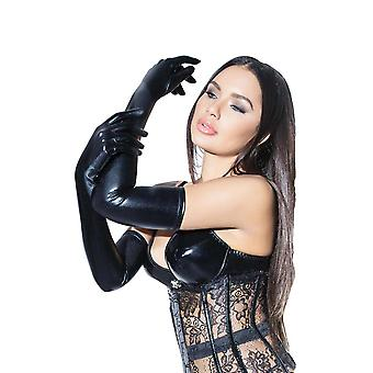 Womens Wet Look Elbow Length Shiny Black Gloves