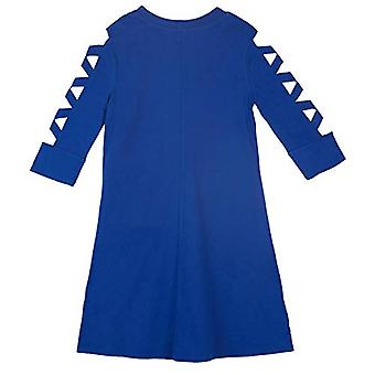 Amy Byer Girls' Rochie tricotată cu mânecă mare cu mânecă de lattice, albastru cobalt, dimensiune medie