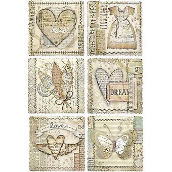 Stamperia Rice Paper Sheet A4-Heart Frames