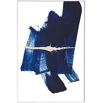 JUNIQE Print - Brushstrokes 4 - Abstract & Geometric Poster in Blue & Yellow