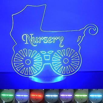Barnehage gamle Baby vogn farge skiftende LED akryl lys