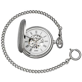 JOBO pocket watch skeleton with chain hand winding chromed 2 jump lid