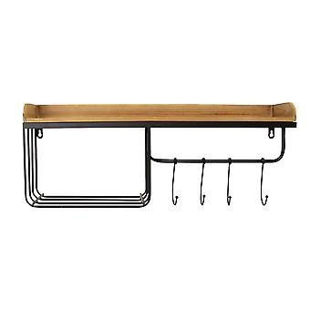 現代の木と金属の壁ハンギングオーガナイザー付き/ スライディングフック
