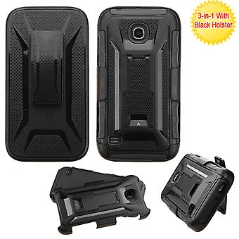 ASMYNA Advanced Armor Stand Case w/ Holster for HUAWEI Union - Black/Black