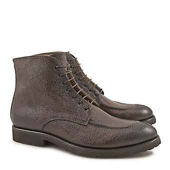 Handmade men's italian dress boots in chocolate leather