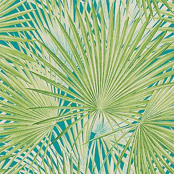 Lucy en el Sky Leaf Print Wallpaper Verde Rasch 803310
