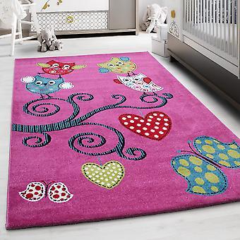 Enfants Rug ShortFlower Owl Design Nursery Pink Melted Ver. Tailles NOUVEAU!!!