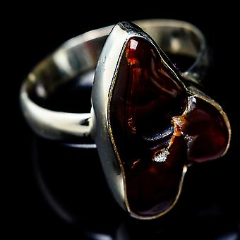 Mexican Fire Agate Ring Size 8.75 (925 Sterling Silver)  - Handmade Boho Vintage Jewelry RING5416