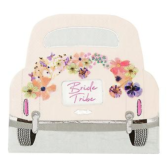 Bride Tribe Car Shaped Pink Floral Paper Party Napkins x 16