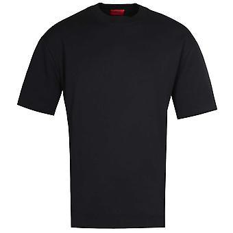 HUGO Dwhite Zip Detail Black T-Shirt