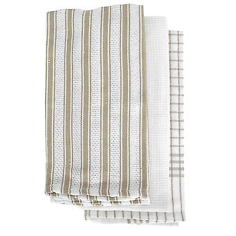 Gardenia 3 Pack Tea Towels Taupe