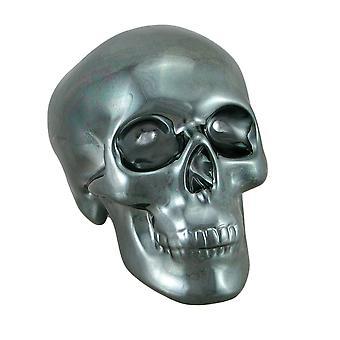 Polierte verchromt Gunmetal schwarz Keramik Human Skull Spardose