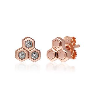 Diamond Trilogy Mismatched Stud Earrings in 9ct Rose Gold 191E0397029