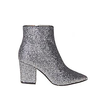 Sergio Rossi A85431mtel278101 Women's Silver Fabric Ankle Boots