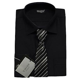 Men Black Shirt and Tie Set