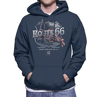Route 66 Mother Road American Flag Men's Hooded Sweatshirt