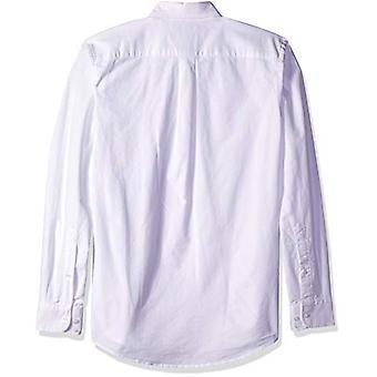 Essentials Men's Slim-Fit Long-Sleeve Solid Pocket Oxford Shirt, Alb...