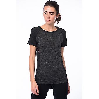 Jerf Womens Melia Grey Melange Naadloze Performance T-shirt met Zip